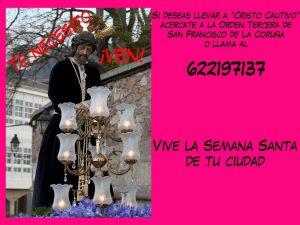 "SI DESEAS LLEVAR A ""CRISTO CAUTIVO"" ACÉRCATE A LA ORDEN TERCERA O LLAMA AL 622197137"