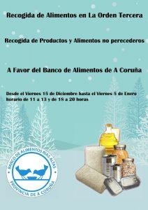 Recogida de alimentos  del 15 de Diciembre al 5 de Enero de 11:00  a 13:00 horas, y de 18:00 a 20:00 horas.