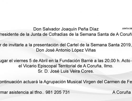 INVITACIÓN A LA PRESENTACIÓN DEL CARTEL DE SEMANA SANTA 2019